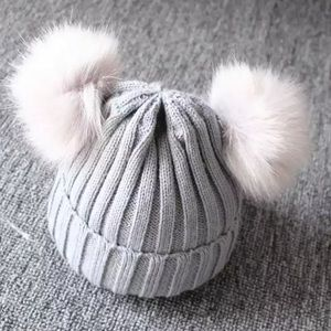 Gray Knitted Children's Beanie with 2 Pom Poms